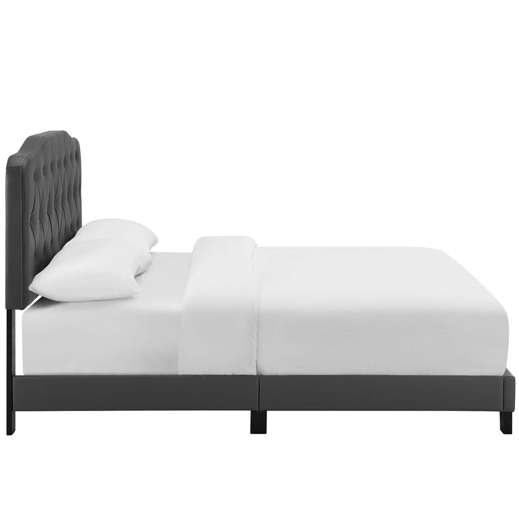 Amelia Full Faux Leather Bed - Gray