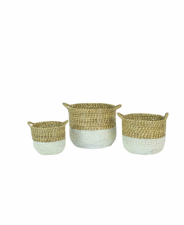 Set of Three White Dipped Seagrass Hampers with Handles