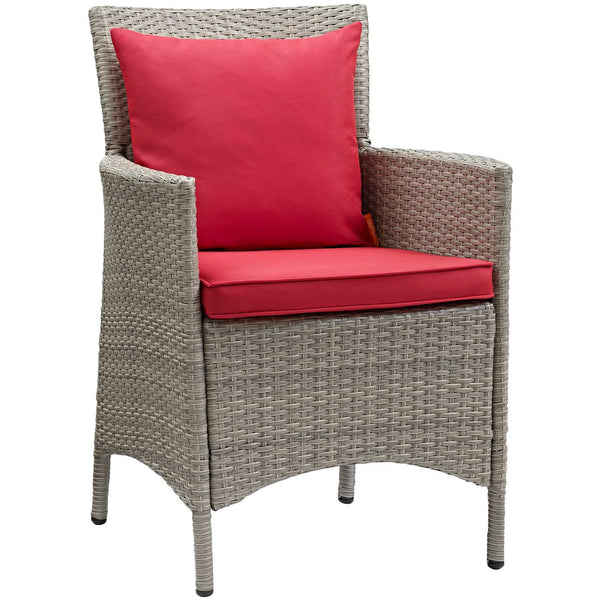 Conduit Outdoor Patio Wicker Rattan Dining Armchair Set of 4 - Light Gray Red