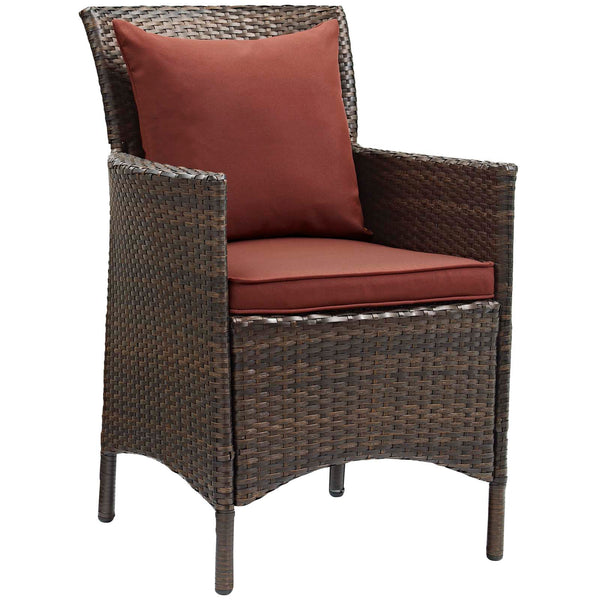 Conduit Outdoor Patio Wicker Rattan Dining Armchair Set of 2 - Brown Currant