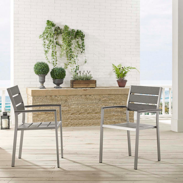 Shore Outdoor Patio Aluminum Dining Armchair Set of 2 - Silver Gray