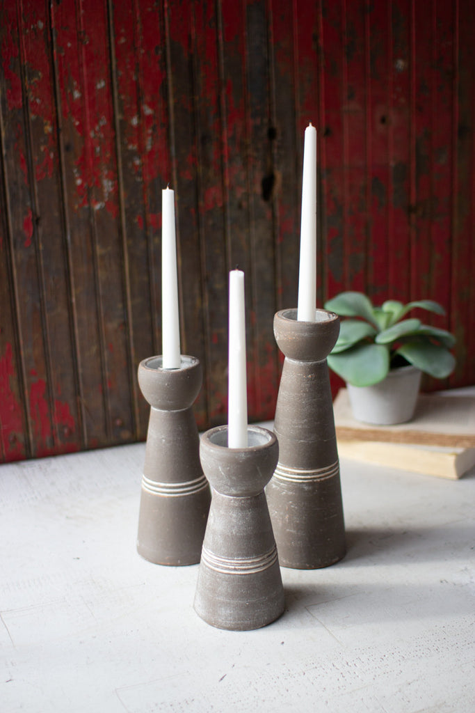 Set of Three Clay Taper Candle Holders - White and Grey Wash