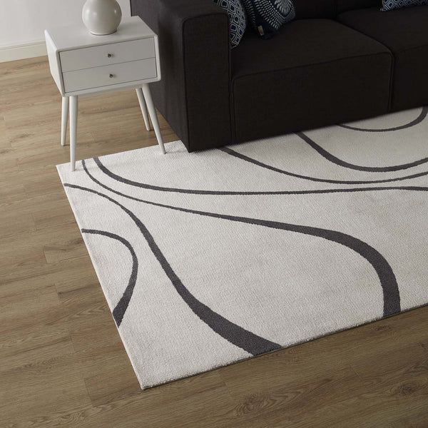 Therese Abstract Swirl 8x10 Area Rug - Ivory and Charcoal