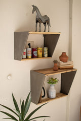 Set of Two Metal Shelves with Recycled Wood