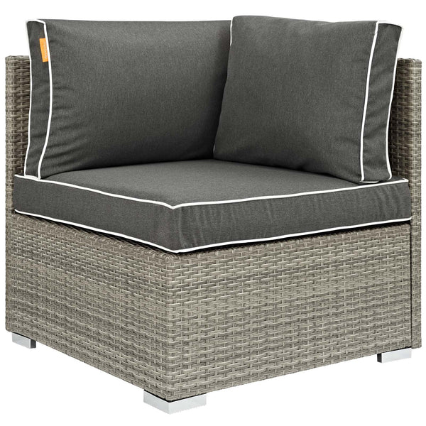 Repose 8 Piece Outdoor Patio Sectional Set - Light Gray Charcoal