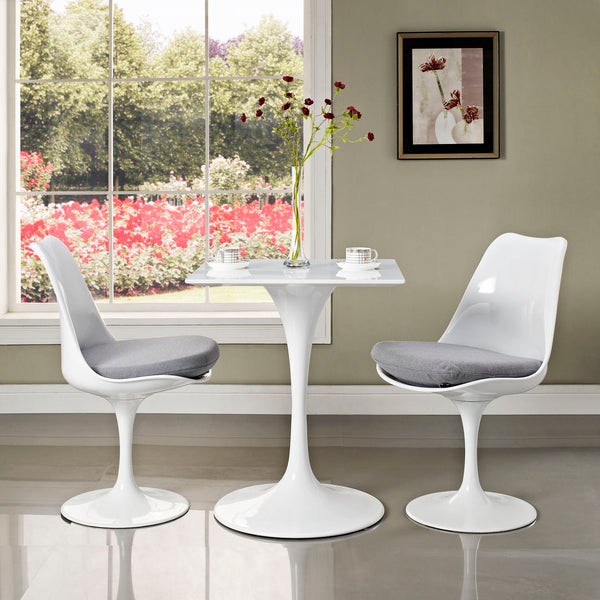 "Lippa 24"""" Square Wood Top Dining Table in White"