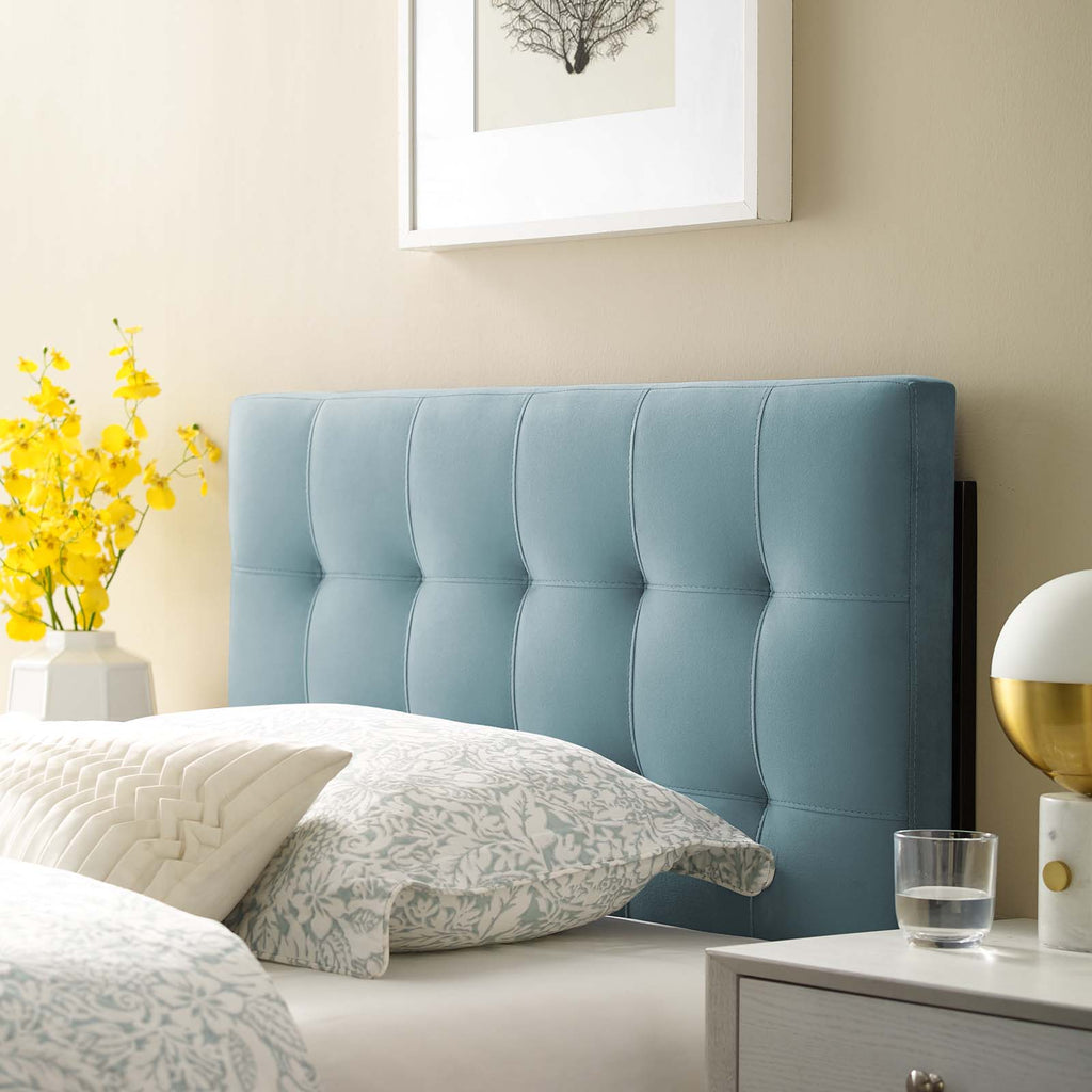 Lily Biscuit Tufted Twin Performance Velvet Headboard - Light Blue
