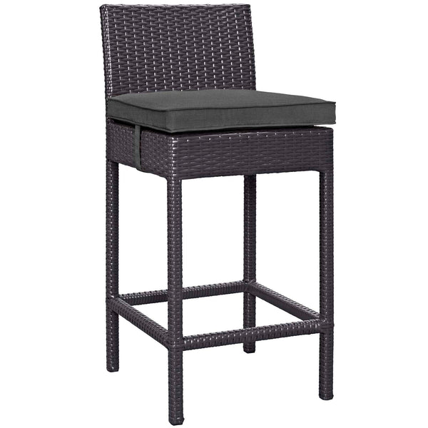 Convene Outdoor Patio Fabric Bar Stool - Espresso Charcoal