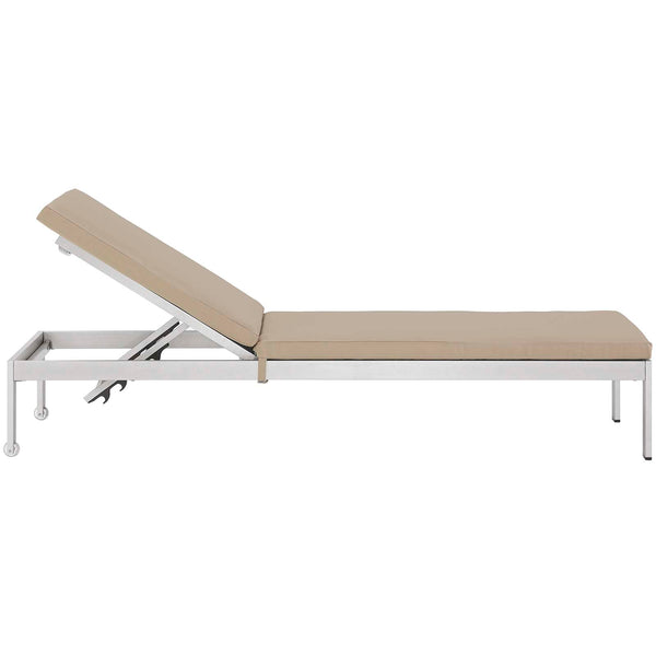 Shore Outdoor Patio Aluminum Chaise with Cushions - Silver Beige