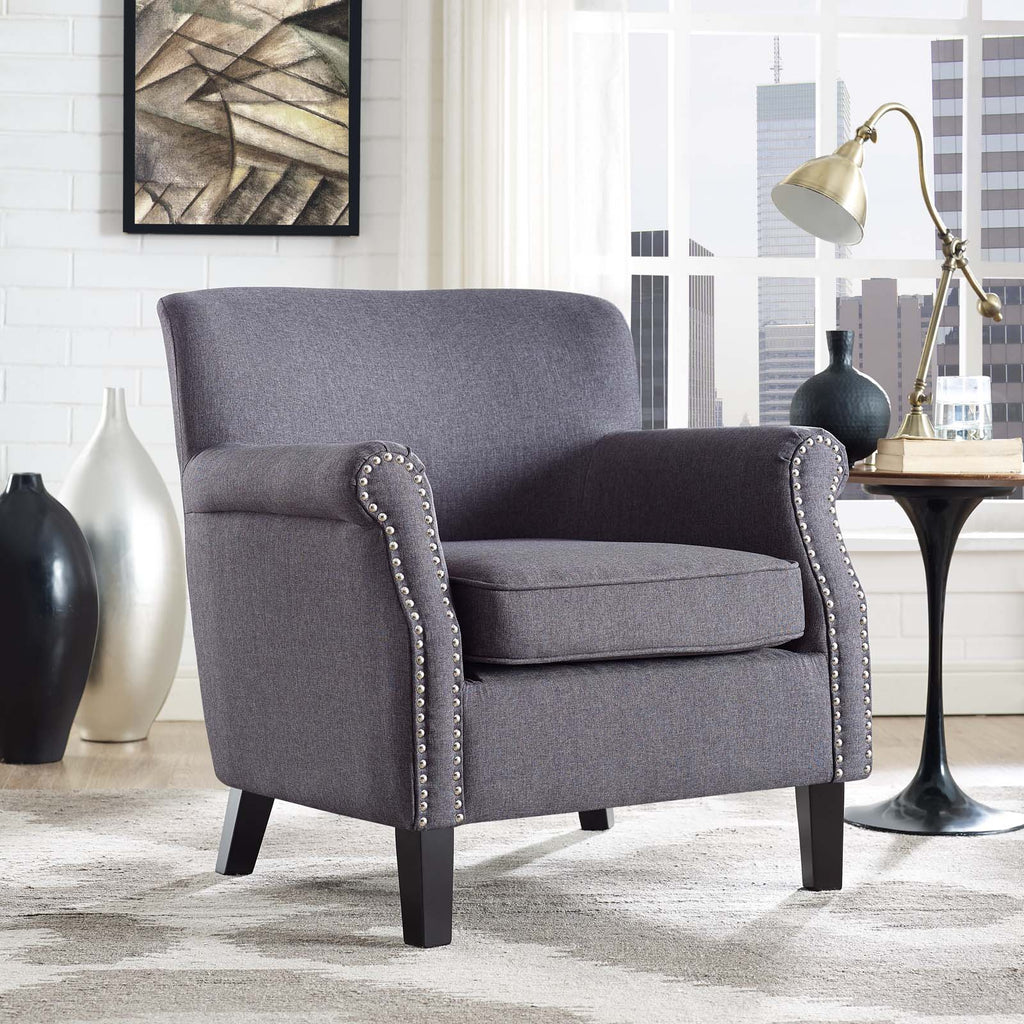 Province Upholstered Fabric Armchair - Gray