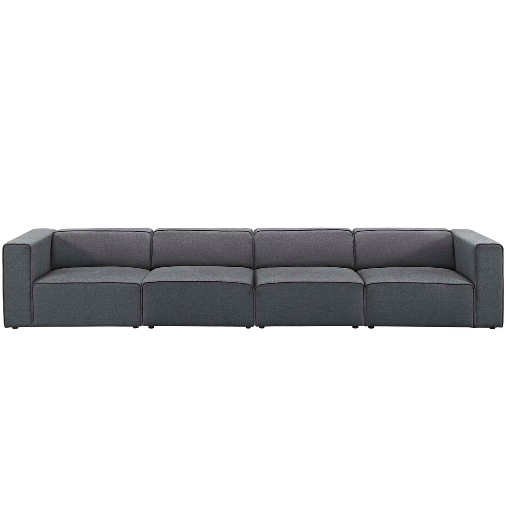 Mingle 4 Piece Upholstered Fabric Sectional Sofa Set - Gray