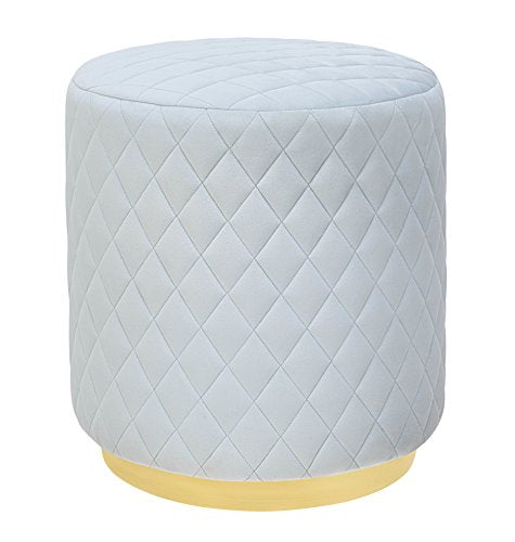 Abir Light Blue Velvet Ottoman