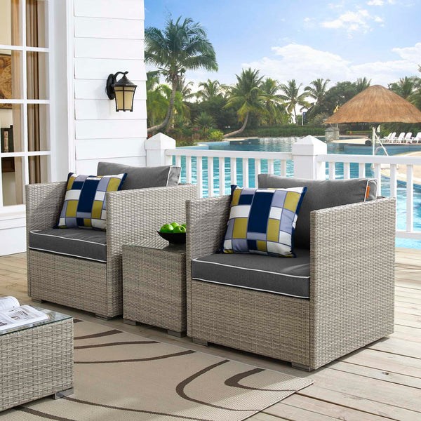 Repose 3 Piece Outdoor Patio Sectional Set - Light Gray Charcoal