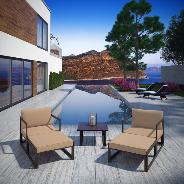 Fortuna 5 Piece Outdoor Patio Sectional Sofa Set - Brown Mocha