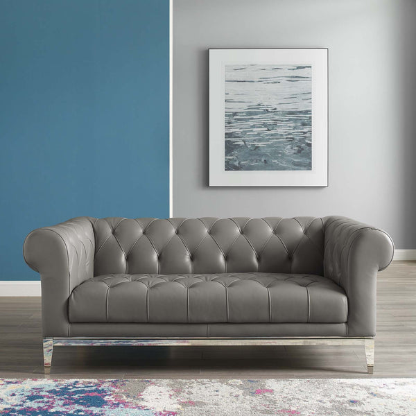Idyll Tufted Button Upholstered Leather Chesterfield Loveseat - Gray