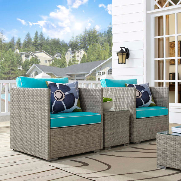 Repose 3 Piece Outdoor Patio Sectional Set - Light Gray Turquoise