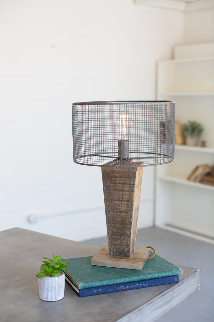 Table Lamp - Mesh Shade with Wooden Base #2