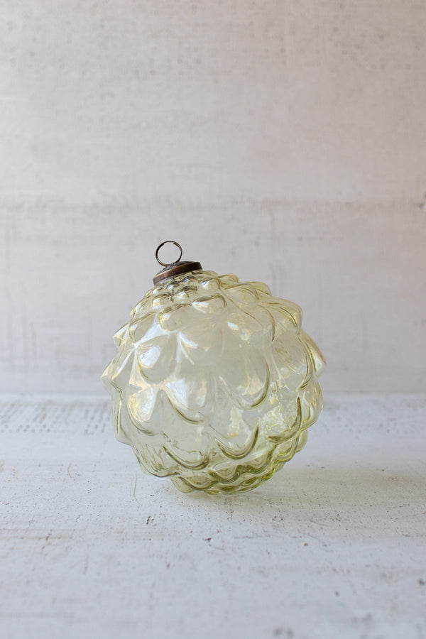 Glass Christmas Ornament - Amber Leaves