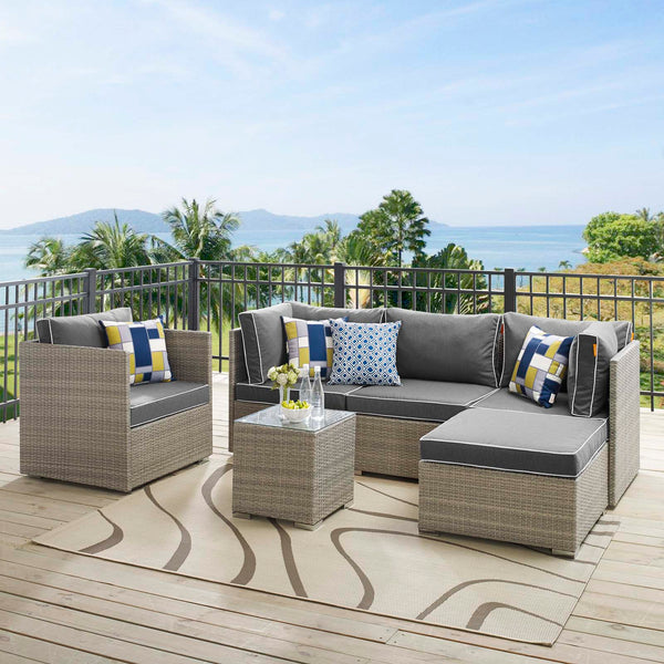 Repose 6 Piece Outdoor Patio Sectional Set - Light Gray Charcoal