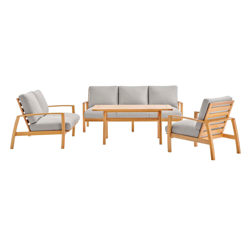 Orlean 4 Piece Outdoor Patio Eucalyptus Wood Dining Set - Natural Light Gray