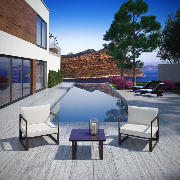 Fortuna 3 Piece Outdoor Patio Sectional Sofa Set - Brown White