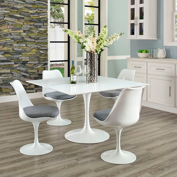 "Lippa 47"""" Square Wood Top Dining Table in White"