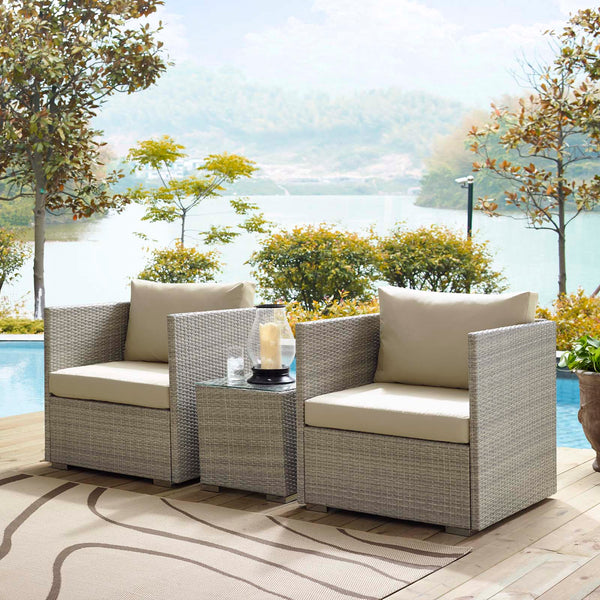 Repose 3 Piece Outdoor Patio Sunbrella Sectional Set - Light Gray Beige