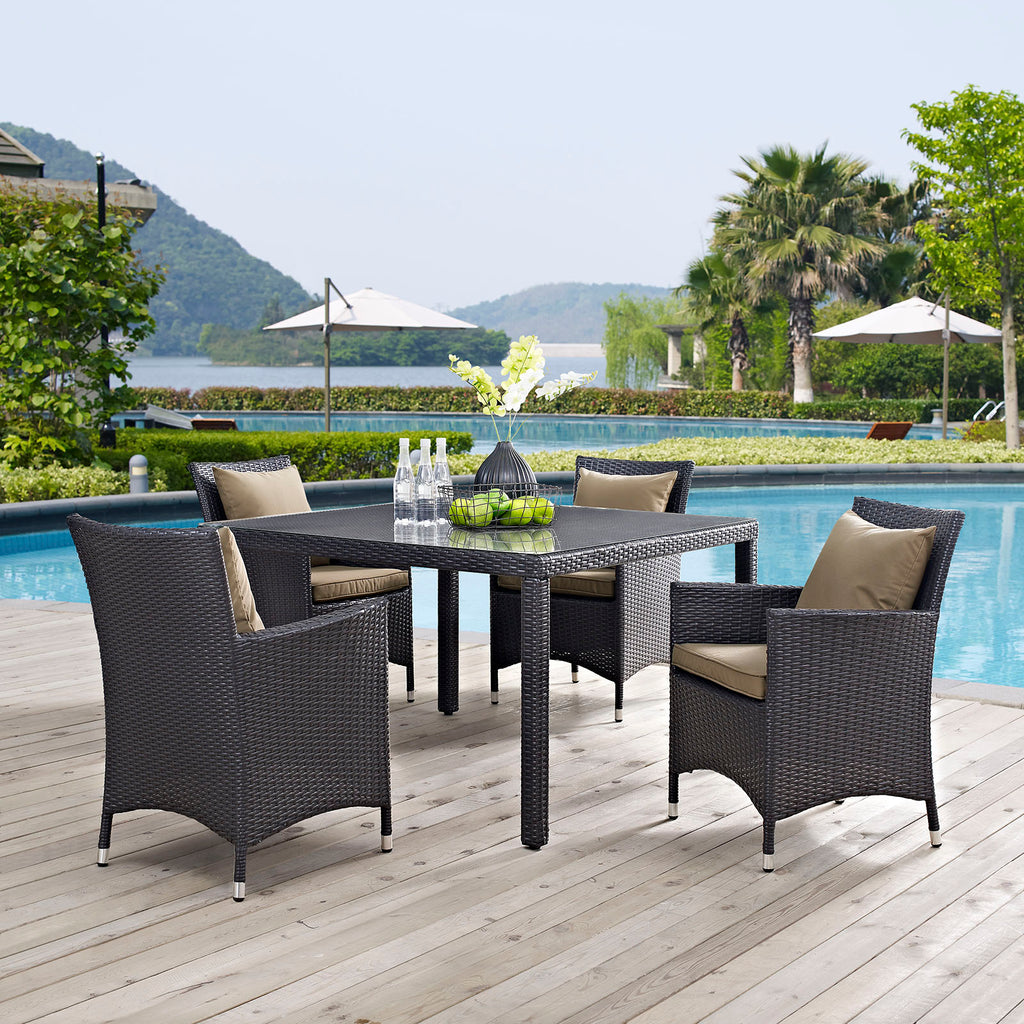 Convene 5 Piece Outdoor Patio Dining Set - Espresso Mocha