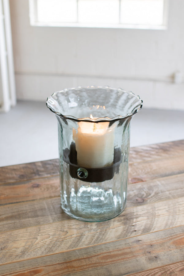RIBBED GLASS CANDLE CYLINDER W RUSTIC INSERT - SMALL