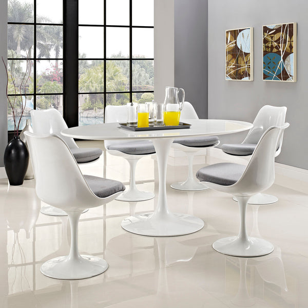 "Lippa 60"""" Oval-Shaped Wood Top Dining Table in White"