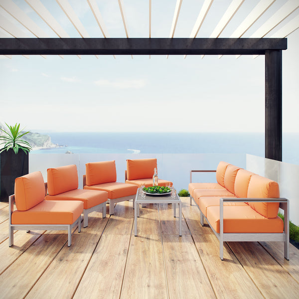 Shore 7 Piece Outdoor Patio Sectional Sofa Set - Silver Orange
