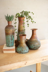 Set of Four Two-toned Copper Vases