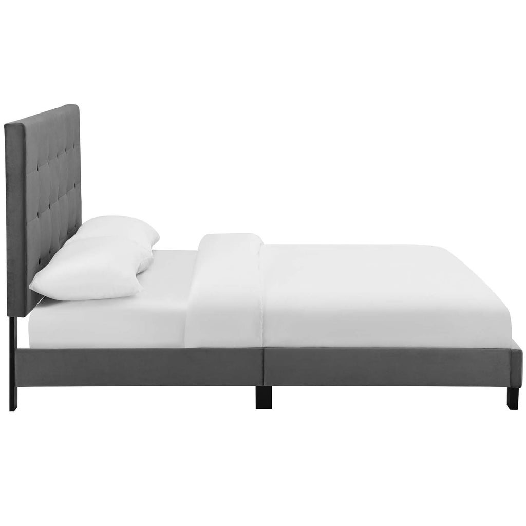 Melanie Queen Tufted Button Upholstered Performance Velvet Platform Bed - Gray