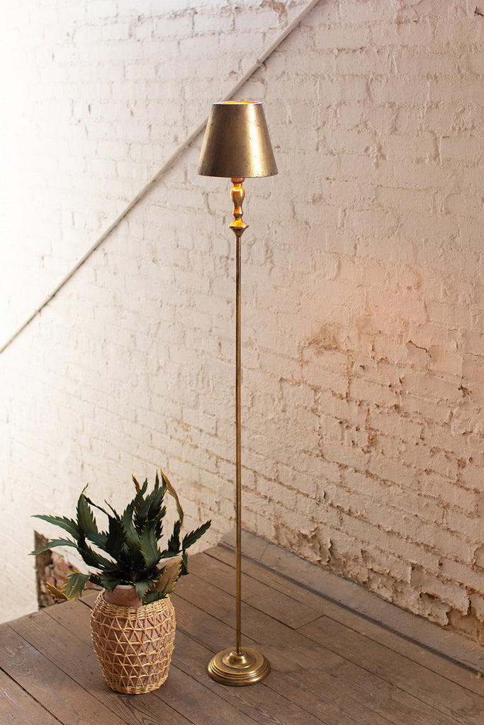Antique Gold Floor Lamp with Metal Shade