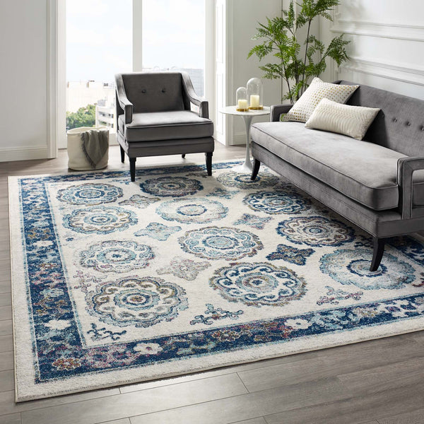 Entourage Odile Distressed Floral Moroccan Trellis 8x10 Area Rug - Ivory and Blue