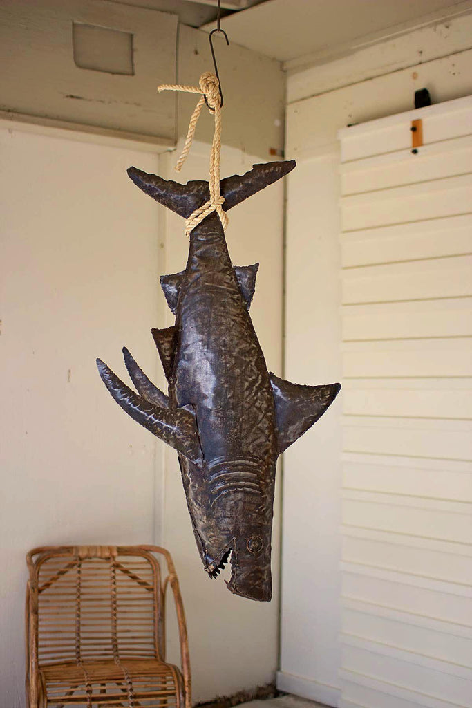 Recycled Hand Hammered 3 Dimensional Shark with Sisal Rope