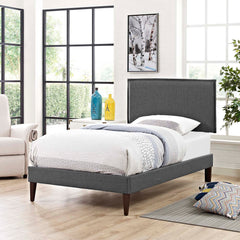 Amaris Twin Fabric Platform Bed with Squared Tapered Legs - Gray