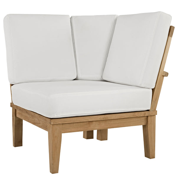 Marina Outdoor Patio Teak Corner Sofa - Natural White