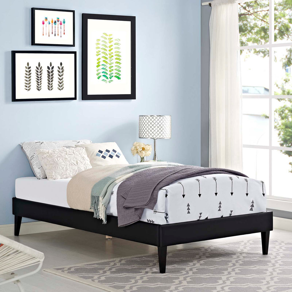 Tessie Twin Vinyl Bed Frame with Squared Tapered Legs - Black