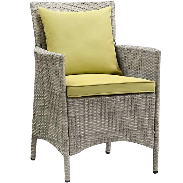 Conduit Outdoor Patio Wicker Rattan Dining Armchair Set of 4 - Light Gray Peridot