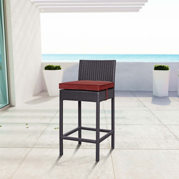 Convene Outdoor Patio Fabric Bar Stool - Espresso Currant