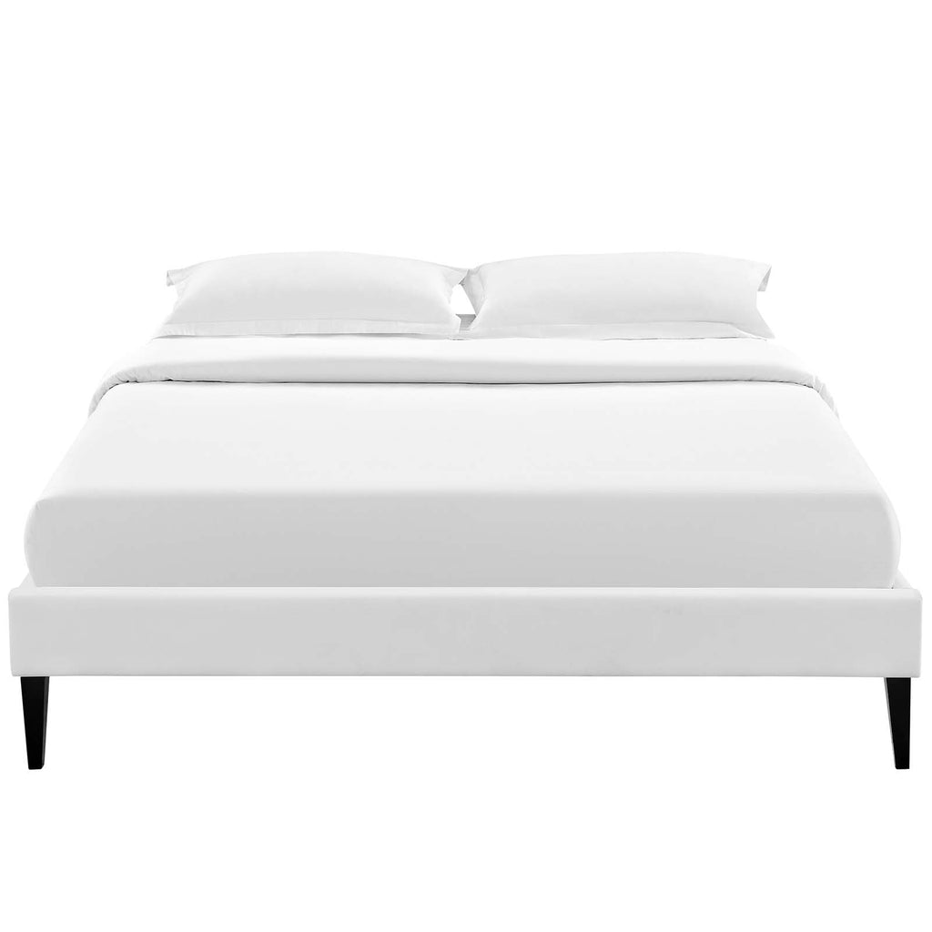 Tessie King Vinyl Bed Frame with Squared Tapered Legs - White