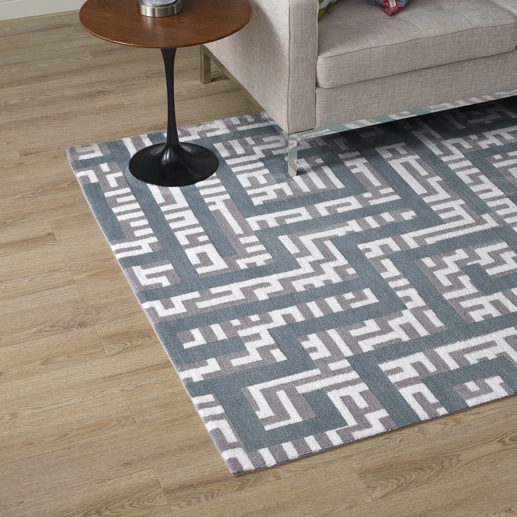Nahia Geometric Maze 8x10 Area Rug - Ivory, Light Gray and Sky Blue