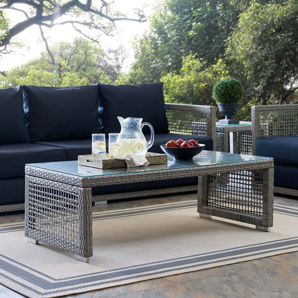 Aura Rattan Outdoor Patio Coffee Table - Gray