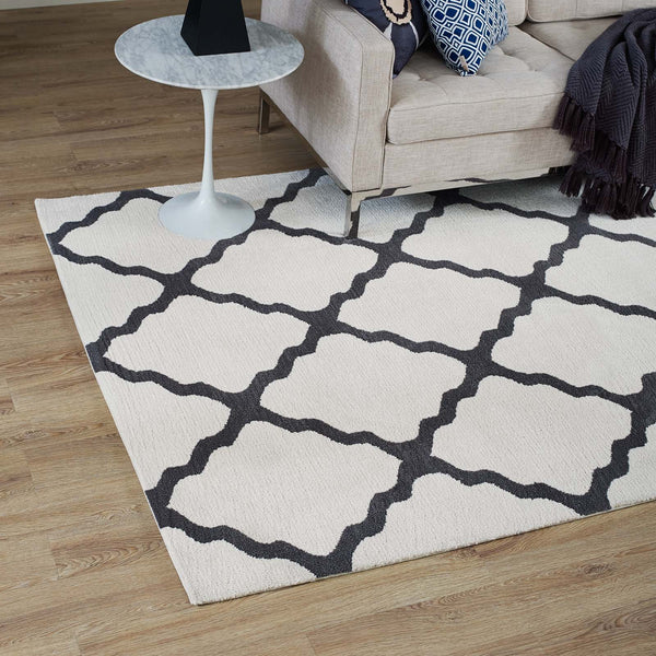 Marja Moroccan Trellis 5x8 Area Rug - Ivory and Charcoal