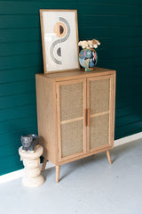 Tall Wood Cabinet with Two Woven Cane Doors