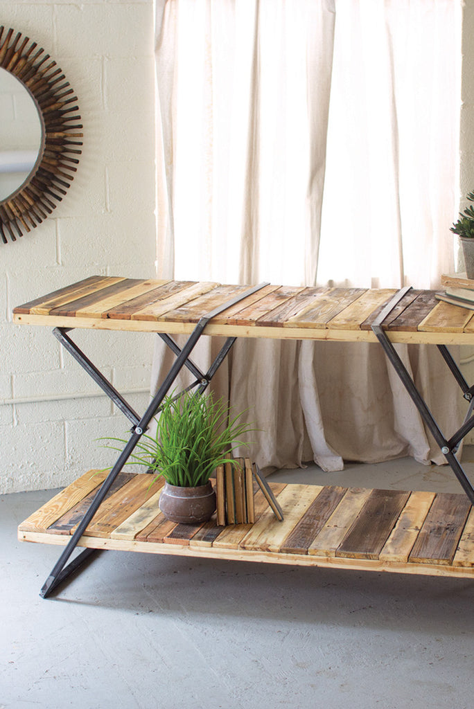 RECLAIMED WOOD TWO TIERED DISPLAY TABLES W FOLDING IRON BASE