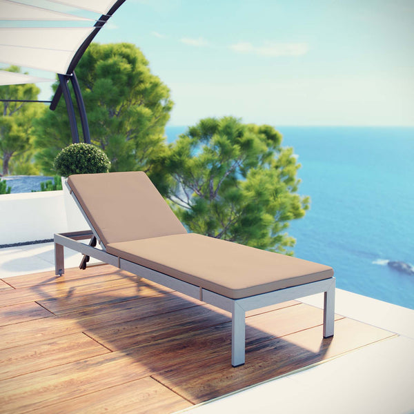 Shore Outdoor Patio Aluminum Chaise with Cushions - Silver Mocha