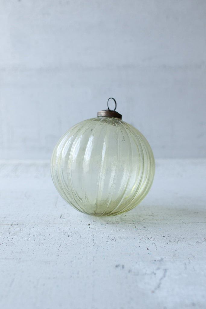 Glass Christmas Ornament - Amber Ribbed