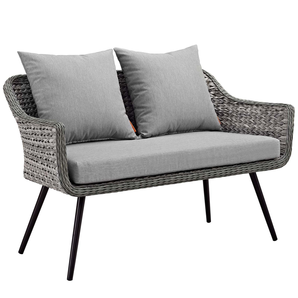 Endeavor 4 Piece Outdoor Patio Wicker Rattan Loveseat Armchair and Coffee Table Set - Gray Gray